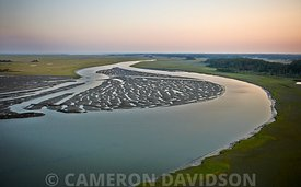 Stock aerial photograph of Hog Island in Virginia