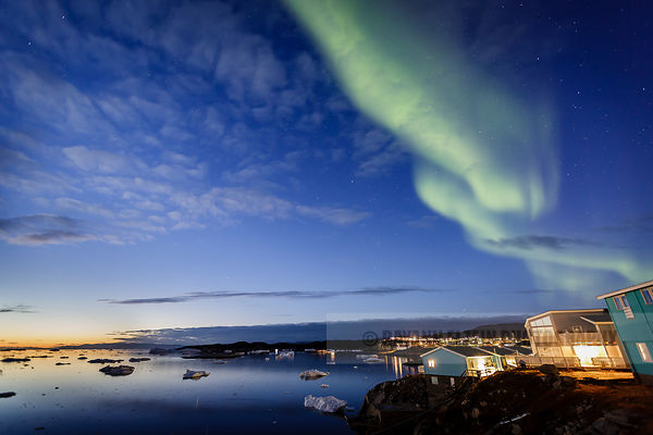 Early evening Aurora from the terrace of the Ilulissat Icefjord Hotel