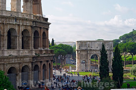 The Colosseum and Arch of Constantine from the viewing point at the end of Via del Annibaldi, Rome, Italy; Landscape