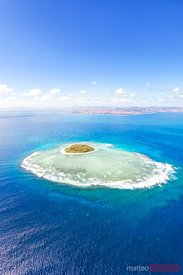 Aerial view of Tavarua, heart shaped island, Mamanucas, Fiji