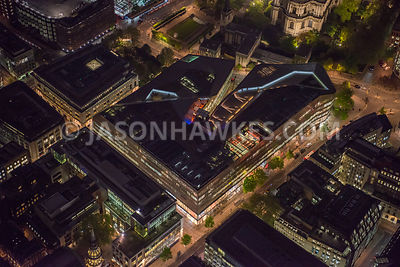Night aerial view over One New Change, London.