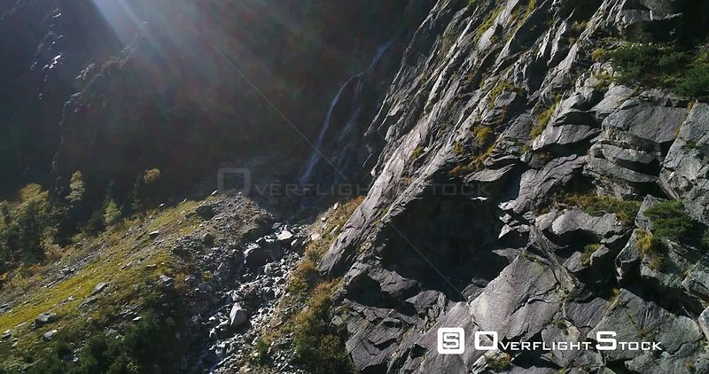 Waterfall, Mountains, 4k Rising View of a Swiss Waterfall a Alpine Landscape, Sunny October Day, on Grimsel Pass, Bern, Switzerland