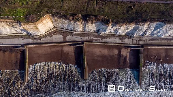 Aerial View of Brighton Cliff and Brighton Beach, Brighton, top view, United Kingdom - filmed by drone