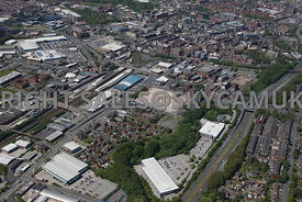 Bolton aerial photograph of Trinity Retail Park looking towards the Central Retail Park and Bolton Railway Station looking across to Trinity Street and the retail parks
