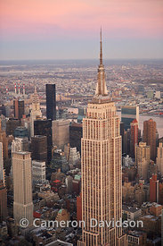 Vertical aerial of New York City and the Empire State Building