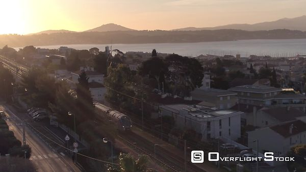 Aerial view of a Train Station in the morning, filmed by drone, Bandol, France