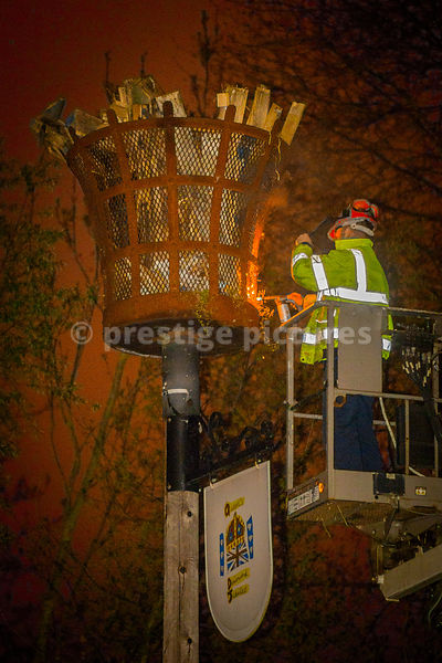 VE Day Beacon being lit in Banbury Oxfordshire