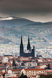 Notre Dame de l'Assomption cathedral and Clermont Ferrand roofs