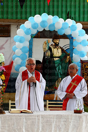 Priest speaking during mass for St Peter and St Paul festival, Arica, Chile