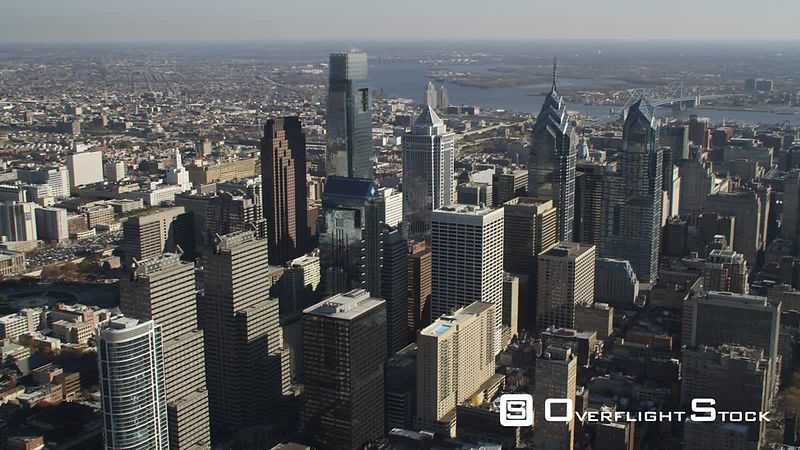 Aerial orbiting view of downtown Philadelphia skyline.