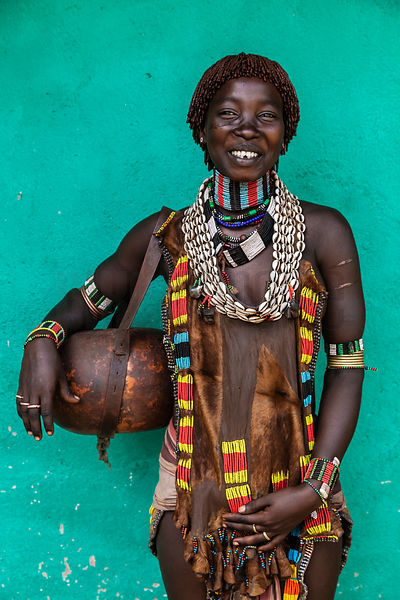 Portrait of a Hamar Woman Holding a Calabash Bowl