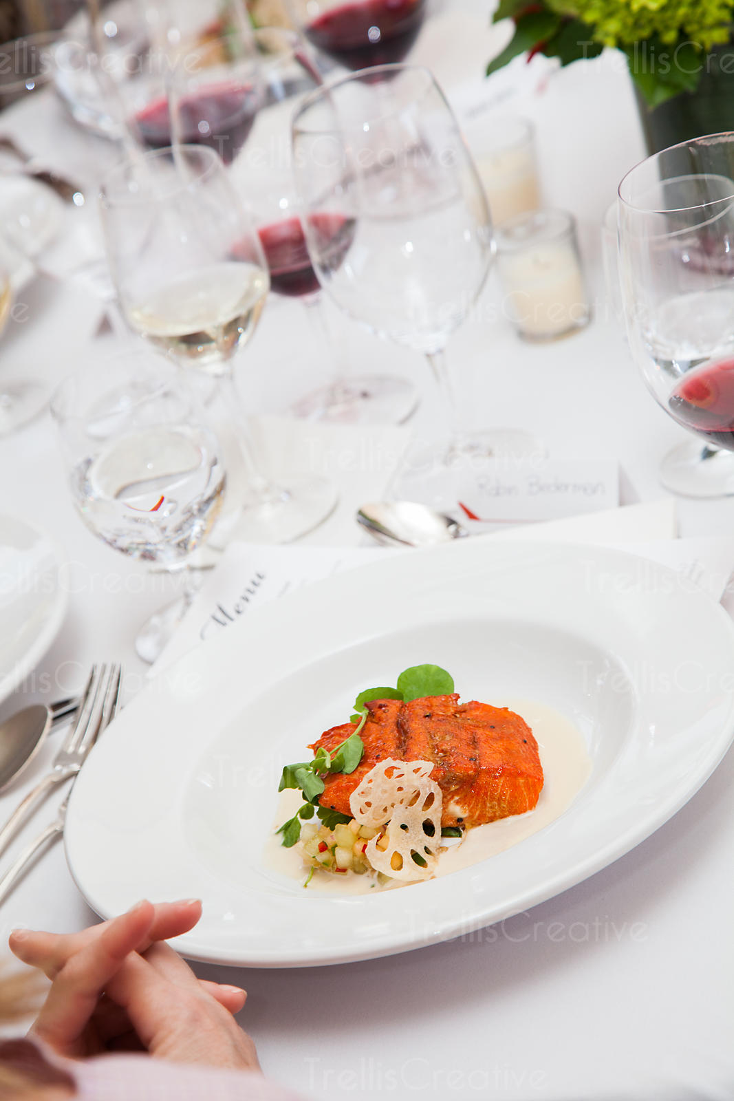 Colorful salmon dinner on a crisp white plate and tablecloth. & Trellis Creative | White Plate