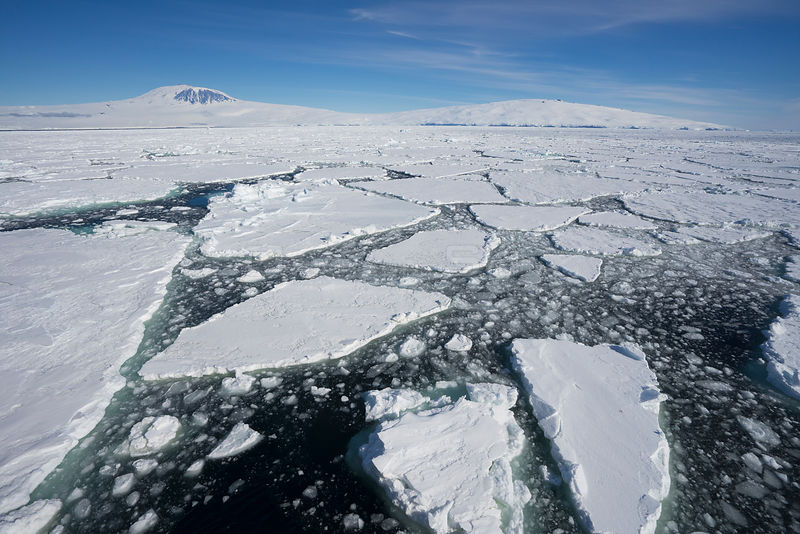 Sea ice, near Mount Erebus, Ross Sea, Antarctica.