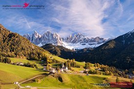 Famous view of St Magdalena town under Odle peaks in the Dolomites Italy