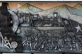 Detail of mural showing town's history and development, Copiapó, Region III, Chile