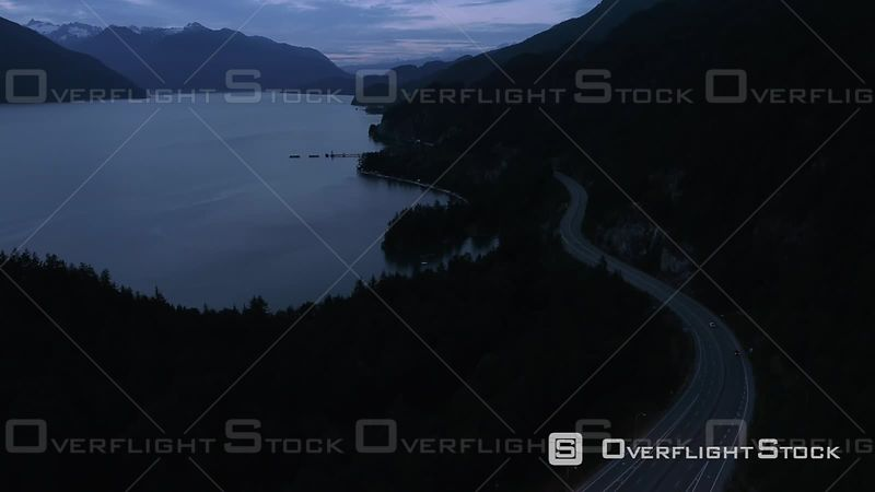 Drone Video Views of Sea to Sky Highway and Howe Sound BC Canada