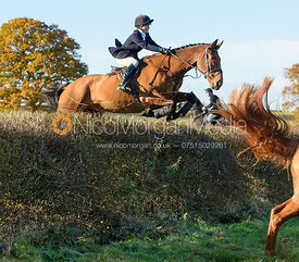 Eliza Stoddart jumping a hedge at Barrowcliffe Farm 18/11