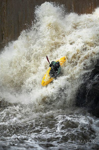 Whitewater kayaker jumps waterfall