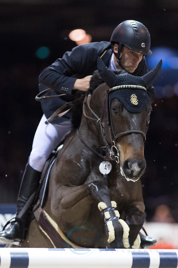 Bordeaux, France, 2.2.2018, Sport, Reitsport, Jumping International de Bordeaux - . Bild zeigt Gregory WATHELET (BEL) riding Iron Man van de Padenborre (5*)...2/02/18, Bordeaux, France, Sport, Equestrian sport Jumping International de Bordeaux - . Image shows Gregory WATHELET (BEL) riding Iron Man van de Padenborre (5*).