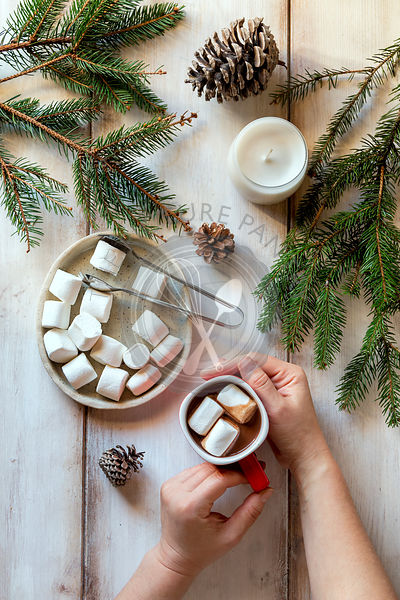 Hands holding a cup of hot chocolate,white candle,spruce cones and spruce tree branches on the table