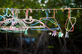Clothes hangers on a washing line