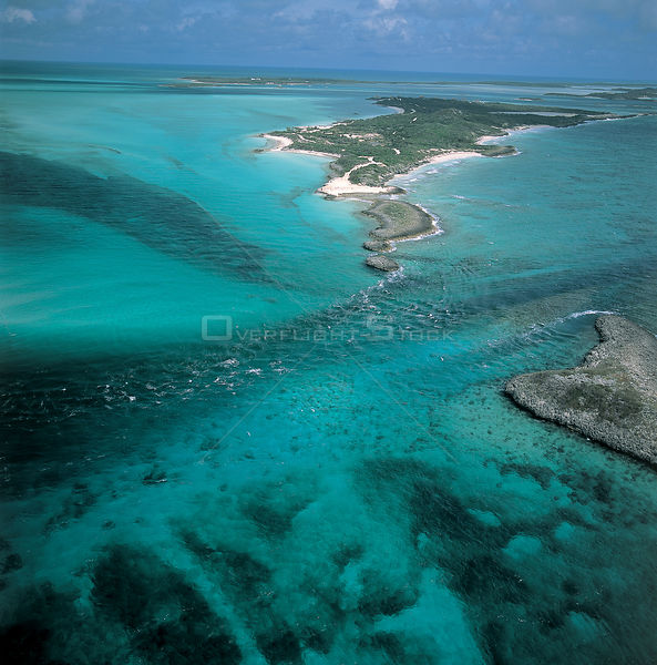Aerial view of islands in The Bahamas showing water currents, Caribbean