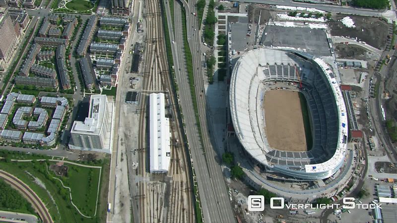 Aerial view of Chicago Bears' stadium and neighboring area.
