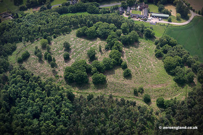 aerial photograph of Bury Bank Iron age hill fort near  Meaford Staffordshire England UK