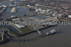 Birkenhead aerial photograph of the Stena Line Belfast and Isle of Man Steam Packet ferry terminal Birkenhead docks