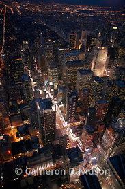 Aerial Times Square at night