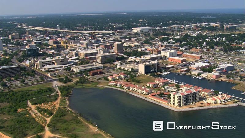 Wide view of Pensacola, Florida, from waterfront.