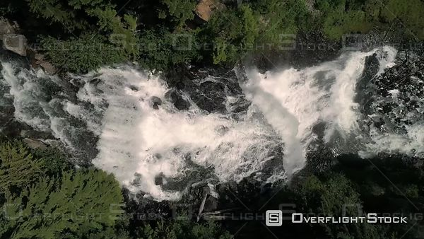 Aerial flying over waterfalls edge at Brandywine Falls in Canada