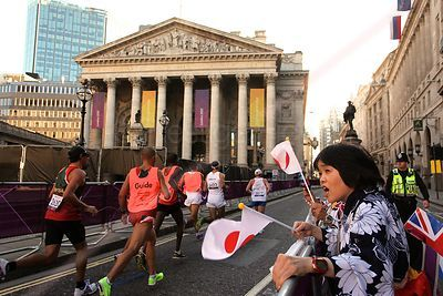 Japanese supporters were out in force at the Paralympic Marathon as the runners passed by the Royal Exchange