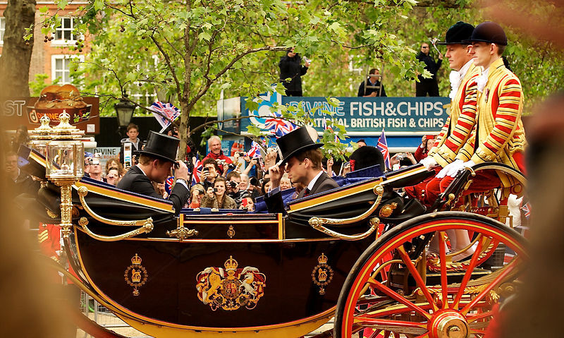 Prince William and Prince Harry in the State Landau Carriage