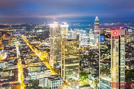 Cityscape at night from high point, Frankfurt, Germany
