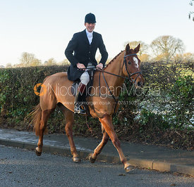 William Bell leaving the meet - The Cottesmore Hunt at Pickwell Manor 28/12