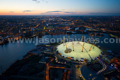 Aerial view of the O2 at night, London