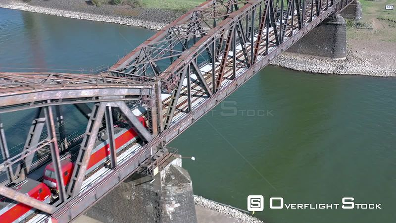 Train Passing of a Railway Bridge in Germany