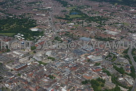 Bolton aerial photograph of the main shopping area looking across Bradshawgate and the centre of Bolton