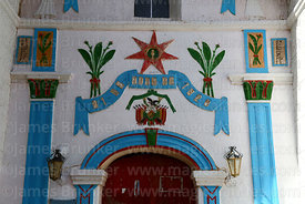 Detail of paintings on church entrance facade, Jirira, Oruro Department, Bolivia