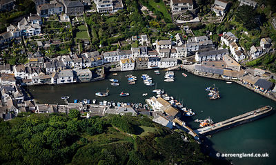 aerial photograph of Polperro  Cornwall England UK