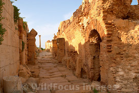 LIBYA: Leptis Magna - Side Street showing Limestone and Bricks