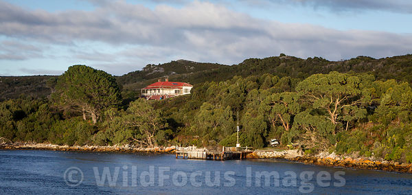 Remote house on Macquarie Harbour, Tasmania, Australia; Landscape