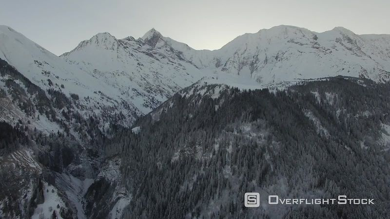 Mont-blanc Mountain, Filmed by Drone in Winter, Saint-gervais, France