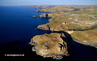 Tintagel Castle Cornwall aerial photograph