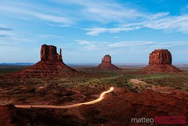The Mittens at dusk, Monument Valley, USA