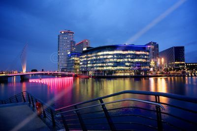 BBC Buildings and Footbridge Illuminated across the Manchester Ship Canal in Salford at Dusk (diffused)