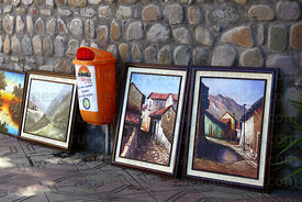 Paintings for sale on colonial street , Tarija , Bolivia