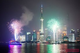 Fireworks on Pudong, Shanghai, China