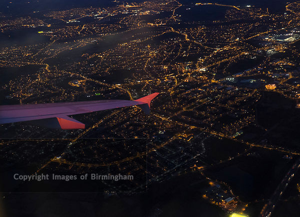 Birmingham as seen from an aeroplane window.